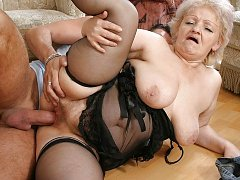 Old milf and young slutty girl licking pussy
